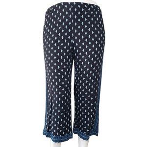 J. Jill   Blue Patterned Lightweight Cropped Pants